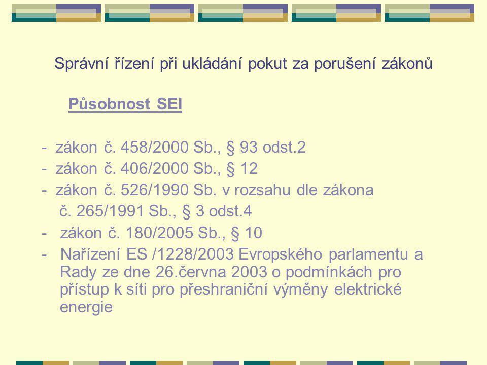 Správní řízení při ukládání pokut za porušení zákonů Působnost SEI - zákon č.