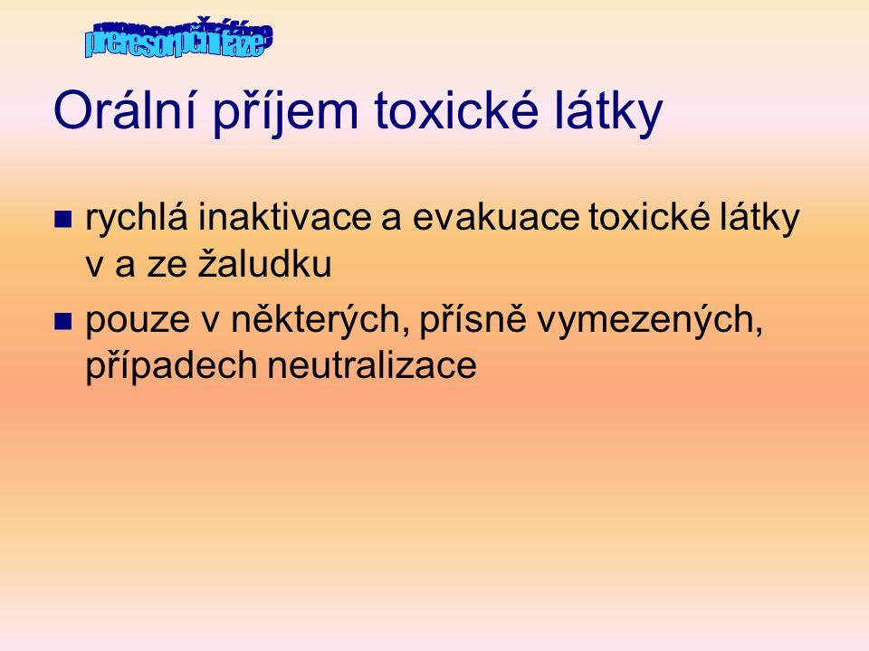 Orální příjem toxické látky  rychlá inaktivace a evakuace toxické látky v a ze žaludku  pouze v některých, přísně vymezených, případech neutralizace
