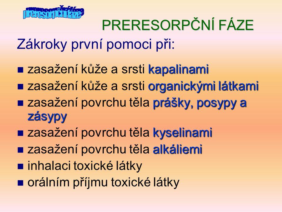 Obvyklá preresorpční antidota k podání per os  Carbo adsorbens  Tanin  Tanin - odvar z dubové kůry nebo silný černý čaj kuchyňský ocet,kyselina boritá kyselina citronová  Kyseliny – kuchyňský ocet, kyselina boritá, kyselina citronová hydrogenuhličitan sodný  Alkálie – hydrogenuhličitan sodný  Roztoky bílkovin  Roztoky bílkovin (vaječného bílku, mléko)