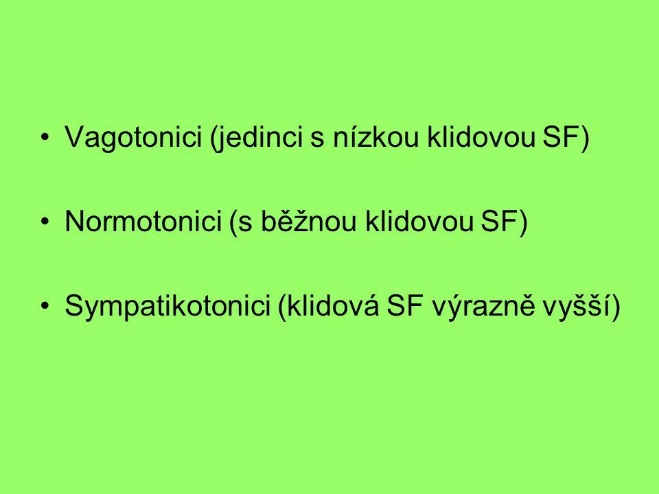•Vagotonici (jedinci s nízkou klidovou SF) •Normotonici (s běžnou klidovou SF) •Sympatikotonici (klidová SF výrazně vyšší)