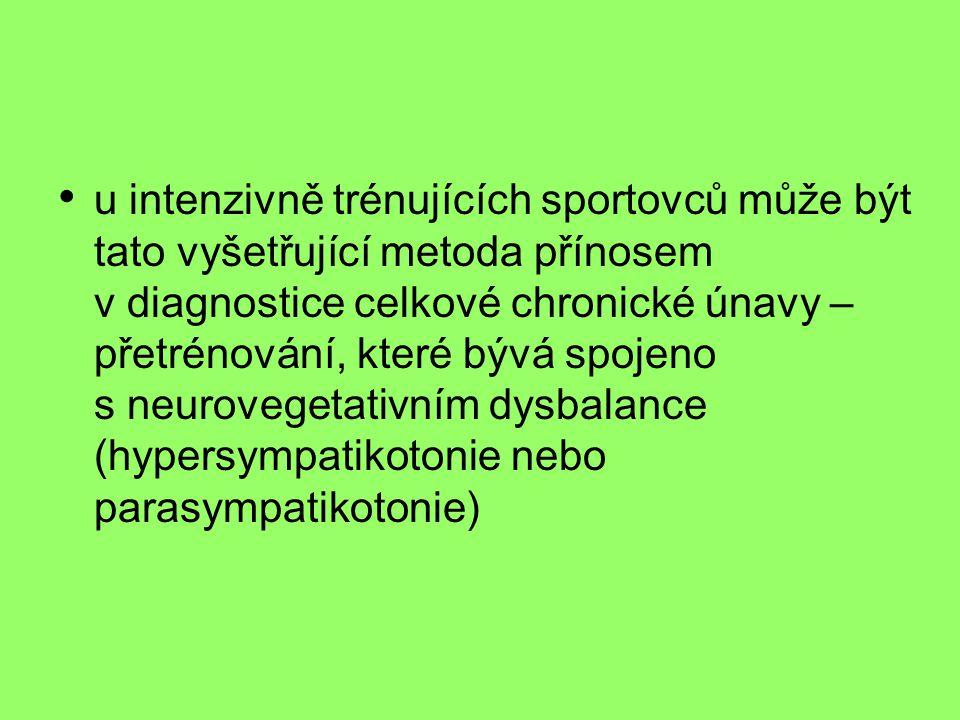 • u intenzivně trénujících sportovců může být tato vyšetřující metoda přínosem v diagnostice celkové chronické únavy – přetrénování, které bývá spojeno s neurovegetativním dysbalance (hypersympatikotonie nebo parasympatikotonie)