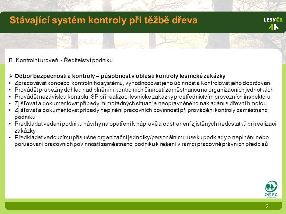 B. Kontrolní úroveň - Ředitelství podniku  Odbor bezpečnosti a kontroly – působnost v oblasti kontroly lesnické zakázky •Zpracovávat koncepci kontrol