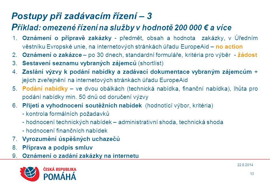 Postupy při zadávacím řízení – 3 P říklad: omezené řízení na služby v hodnotě 200 000 € a více 1.
