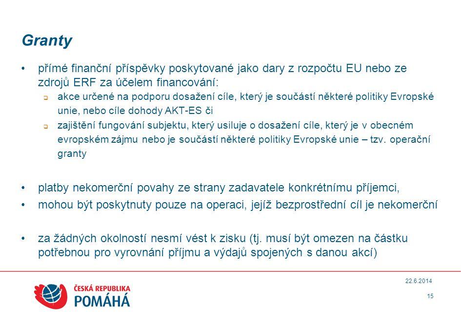 Granty •přímé finanční příspěvky poskytované jako dary z rozpočtu EU nebo ze zdrojů ERF za účelem financování:  akce určené na podporu dosažení cíle, který je součástí některé politiky Evropské unie, nebo cíle dohody AKT-ES či  zajištění fungování subjektu, který usiluje o dosažení cíle, který je v obecném evropském zájmu nebo je součástí některé politiky Evropské unie – tzv.