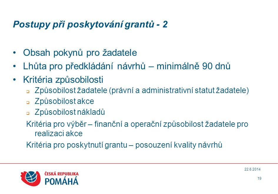 Postupy při poskytování grantů - 2 •Obsah pokynů pro žadatele •Lhůta pro předkládání návrhů – minimálně 90 dnů •Kritéria způsobilosti  Způsobilost žadatele (právní a administrativní statut žadatele)  Způsobilost akce  Způsobilost nákladů Kritéria pro výběr – finanční a operační způsobilost žadatele pro realizaci akce Kritéria pro poskytnutí grantu – posouzení kvality návrhů 19 22.6.2014