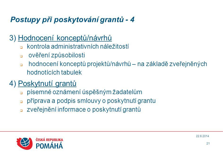 Postupy při poskytování grantů - 4 3) Hodnocení konceptů/návrhů  kontrola administrativních náležitostí  ověření způsobilosti  hodnocení konceptů projektů/návrhů – na základě zveřejněných hodnotících tabulek 4) Poskytnutí grantů  písemné oznámení úspěšným žadatelům  příprava a podpis smlouvy o poskytnutí grantu  zveřejnění informace o poskytnutí grantů 21 22.6.2014