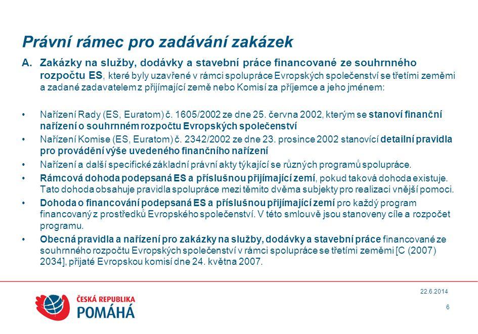 Právní rámec pro zadávání zakázek A.Zakázky na služby, dodávky a stavební práce financované ze souhrnného rozpočtu ES, které byly uzavřené v rámci spolupráce Evropských společenství se třetími zeměmi a zadané zadavatelem z přijímající země nebo Komisí za příjemce a jeho jménem: •Nařízení Rady (ES, Euratom) č.