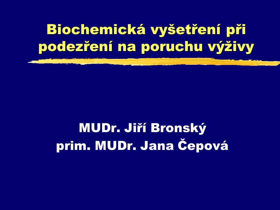 Biochemická vyšetření při podezření na poruchu výživy MUDr. Jiří Bronský prim. MUDr. Jana Čepová