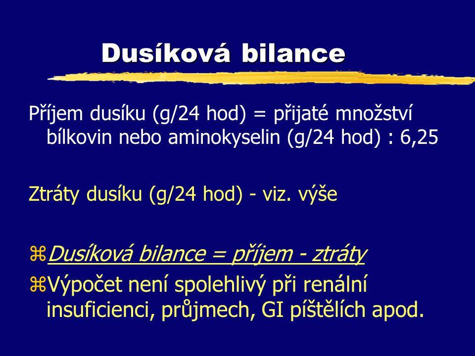 Dusíková bilance Příjem dusíku (g/24 hod) = přijaté množství bílkovin nebo aminokyselin (g/24 hod) : 6,25 Ztráty dusíku (g/24 hod) - viz. výše zDusíko
