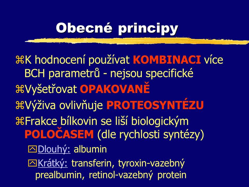 Obecné principy zK hodnocení používat KOMBINACI více BCH parametrů - nejsou specifické zVyšetřovat OPAKOVANĚ zVýživa ovlivňuje PROTEOSYNTÉZU zFrakce b