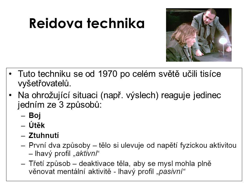 Reidova technika •Tuto techniku se od 1970 po celém světě učili tisíce vyšetřovatelů. •Na ohrožující situaci (např. výslech) reaguje jedinec jedním ze