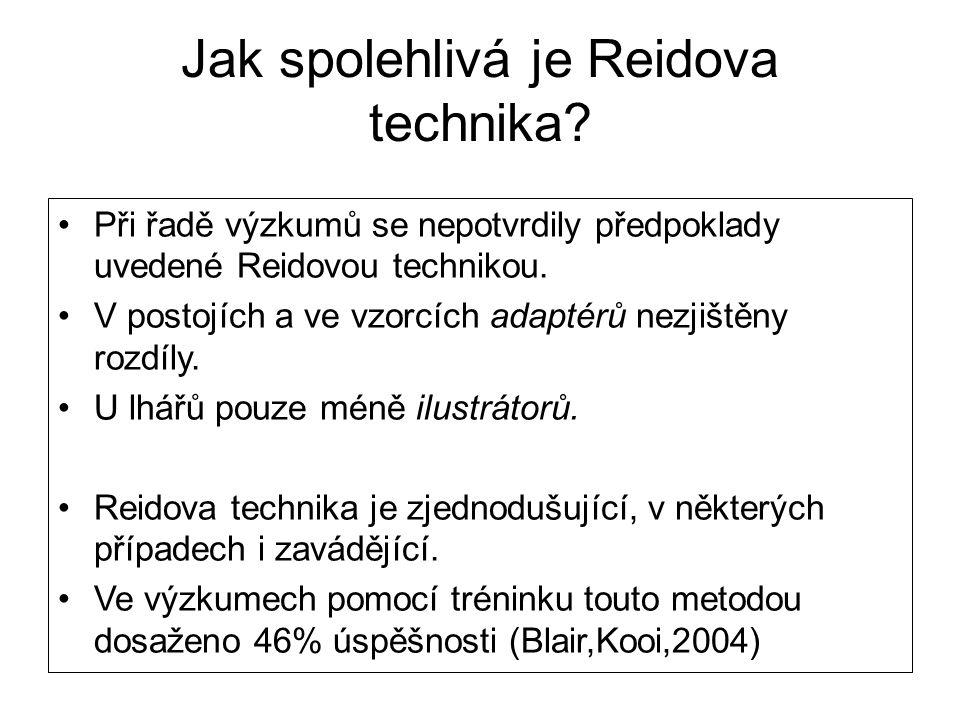 Jak spolehlivá je Reidova technika? •Při řadě výzkumů se nepotvrdily předpoklady uvedené Reidovou technikou. •V postojích a ve vzorcích adaptérů nezji