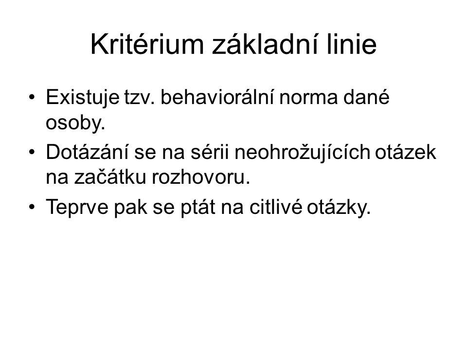 Kritérium základní linie •Existuje tzv.behaviorální norma dané osoby.
