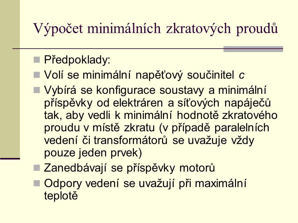 Výpočet minimálních zkratových proudů  Předpoklady:  Volí se minimální napěťový součinitel c  Vybírá se konfigurace soustavy a minimální příspěvky