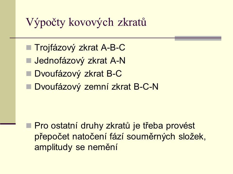 Výpočty kovových zkratů  Trojfázový zkrat A-B-C  Jednofázový zkrat A-N  Dvoufázový zkrat B-C  Dvoufázový zemní zkrat B-C-N  Pro ostatní druhy zkr
