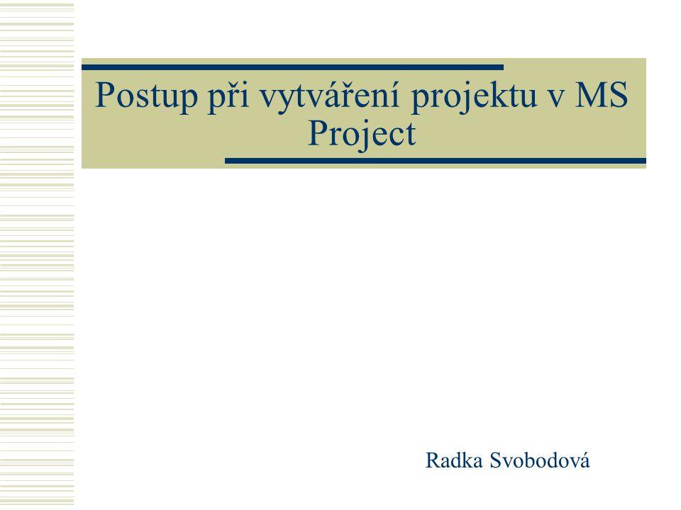 Postup při vytváření projektu v MS Project Radka Svobodová