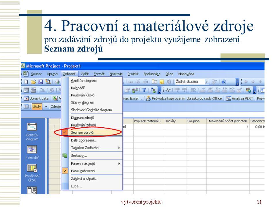 vytvoření projektu11 4. Pracovní a materiálové zdroje pro zadávání zdrojů do projektu využijeme zobrazení Seznam zdrojů