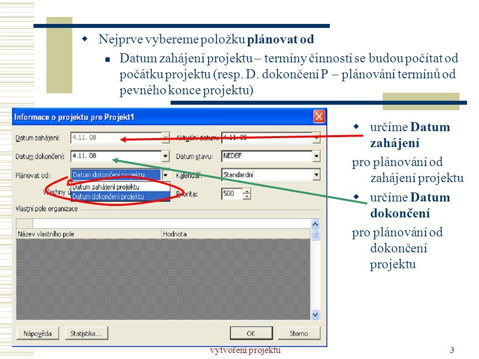 vytvoření projektu3  Nejprve vybereme položku plánovat od  Datum zahájení projektu – termíny činností se budou počítat od počátku projektu (resp. D.