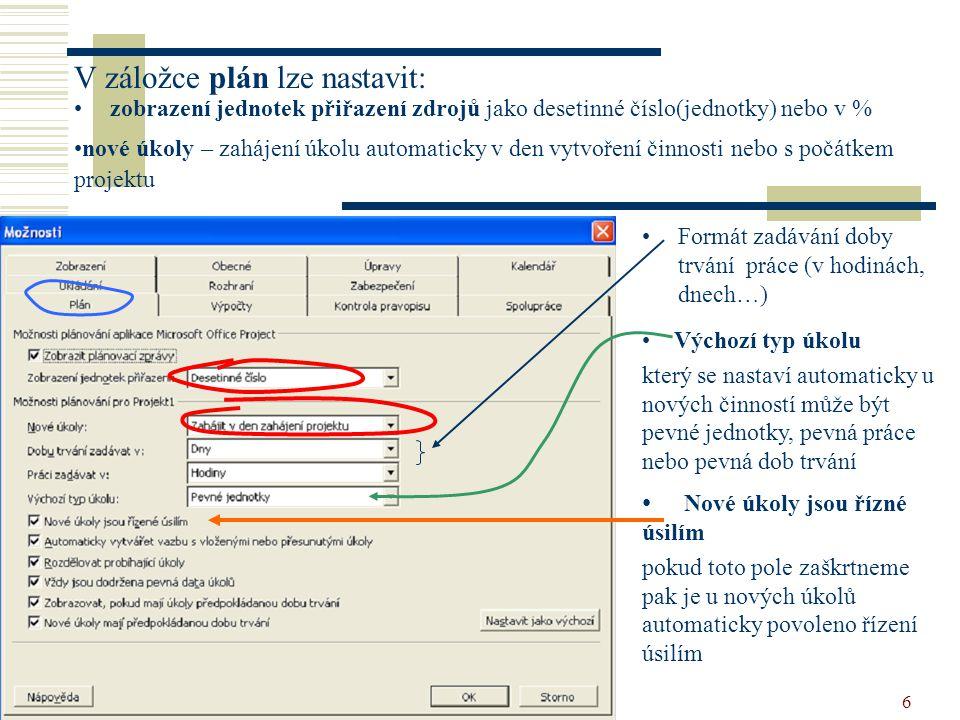 vytvoření projektu6 V záložce plán lze nastavit: •zobrazení jednotek přiřazení zdrojů jako desetinné číslo(jednotky) nebo v % •Formát zadávání doby tr