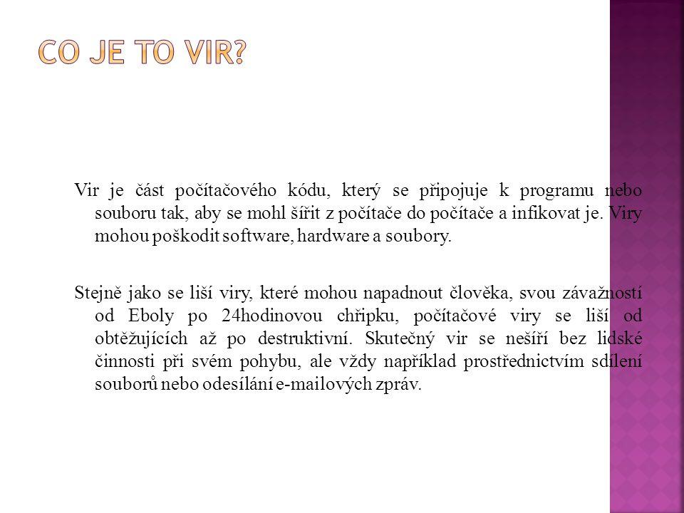 Vir je část počítačového kódu, který se připojuje k programu nebo souboru tak, aby se mohl šířit z počítače do počítače a infikovat je. Viry mohou poš