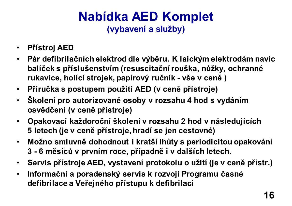 Nabídka AED Komplet (vybavení a služby) •Přístroj AED •Pár defibrilačních elektrod dle výběru.