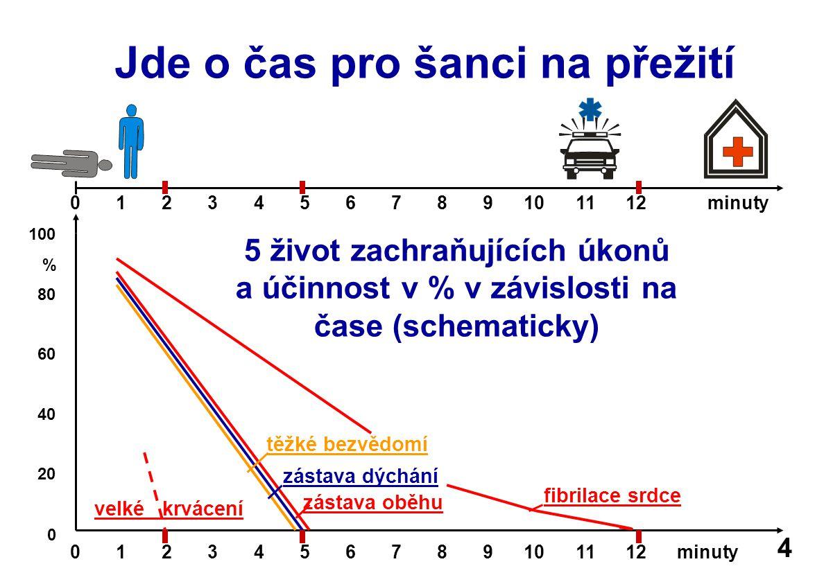 Jde o čas pro šanci na přežití 0 1 2 3 4 5 6 7 8 9 10 11 12 minuty 100 % 80 60 40 20 0 velké krvácení zástava dýchání zástava oběhu fibrilace srdce těžké bezvědomí 0 1 2 3 4 5 6 7 8 9 10 11 12 minuty 5 život zachraňujících úkonů a účinnost v % v závislosti na čase (schematicky) 4