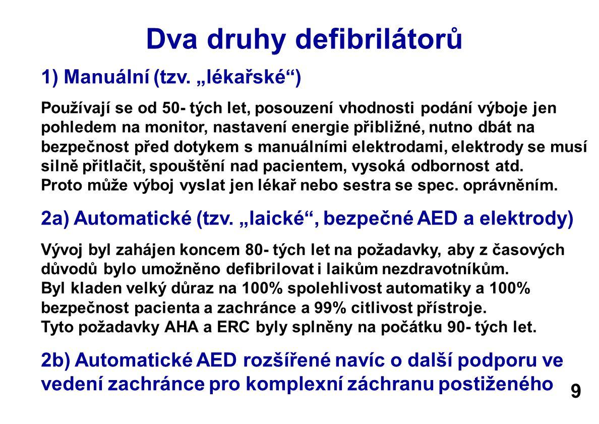 2b) Specielní AED s funkcemi pro komplexní záchranu Pro usnadnění záchrany ve 4 život zachraňujících úkonech byl AED rozšířen o názorné vedení zachránce - Zjistěte bezvědomí (hlasem, poklepáním) a volejte ZZS (155) - Uvolněte dýchací cesty, nedýchá-li a nereaguje, zahajte KPR - Přilepte elektrody a spusťte AED - Dá-li AED příkaz tak Stiskněte tlačítko výboj (defibrilujte) - Pokračujte 30 (15) kompresemi hrudníku a 2 vdechy - Pro usnadnění masáže udává takt postupně na 100/min - Pro zvýšení účinnosti záchrany kontroluje hloubku masáže - Zaznamenává celý průběh, datum, časy atd.