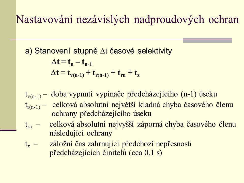 Nastavování nezávislých nadproudových ochran a) Stanovení stupně  t časové selektivity  t = t n – t n-1  t = t v(n-1) + t r(n-1) + t rn + t z t v(n-1) – doba vypnutí vypínače předcházejícího (n-1) úseku t r(n-1) – celková absolutní největší kladná chyba časového členu ochrany předcházejícího úseku t rn – celková absolutní nejvyšší záporná chyba časového členu následující ochrany t z – záložní čas zahrnující předchozí nepřesnosti předcházejících činitelů (cca 0,1 s)