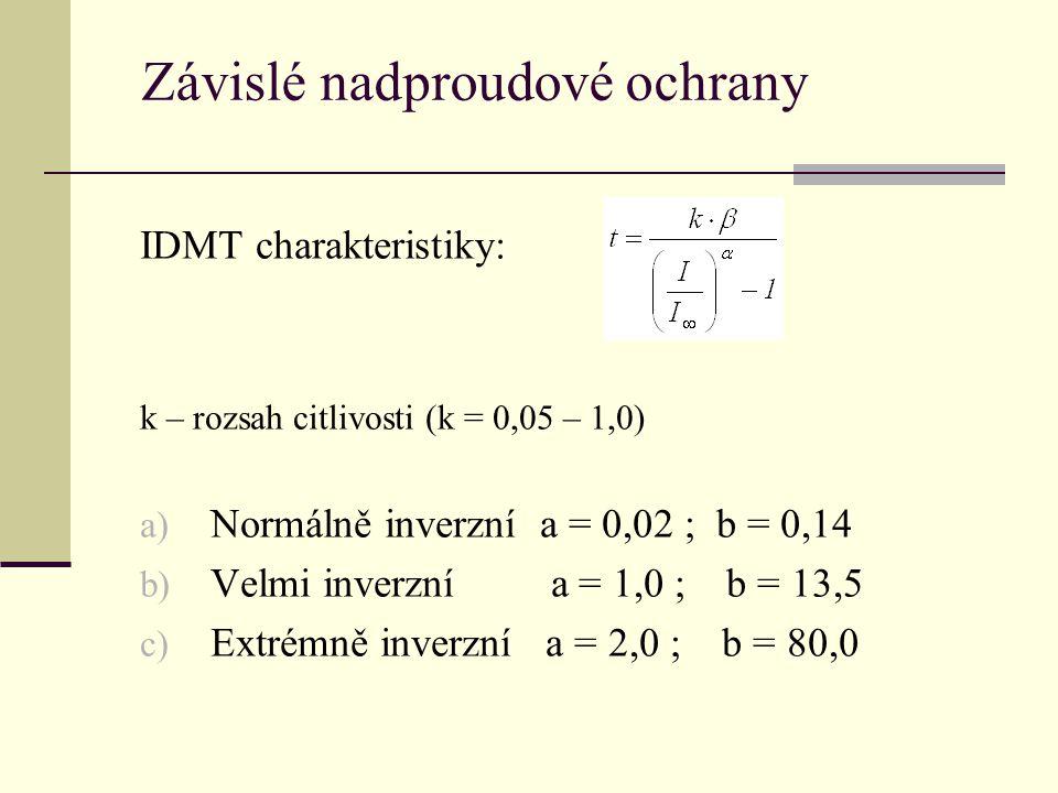 IDMT charakteristiky: k – rozsah citlivosti (k = 0,05 – 1,0) a) Normálně inverzní a = 0,02 ; b = 0,14 b) Velmi inverzní a = 1,0 ; b = 13,5 c) Extrémně inverzní a = 2,0 ; b = 80,0 Závislé nadproudové ochrany
