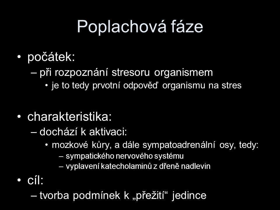 Poplachová fáze •počátek: –při rozpoznání stresoru organismem •je to tedy prvotní odpověď organismu na stres •charakteristika: –dochází k aktivaci: •m