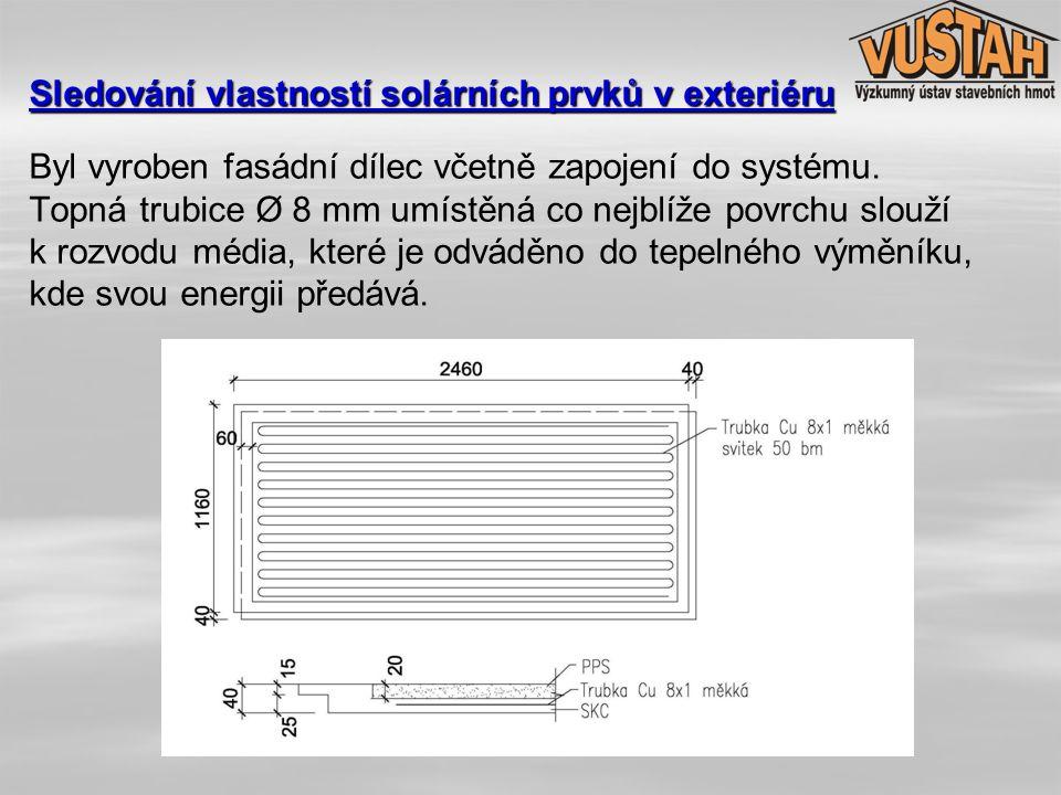Byl vyroben fasádní dílec včetně zapojení do systému. Topná trubice Ø 8 mm umístěná co nejblíže povrchu slouží k rozvodu média, které je odváděno do t
