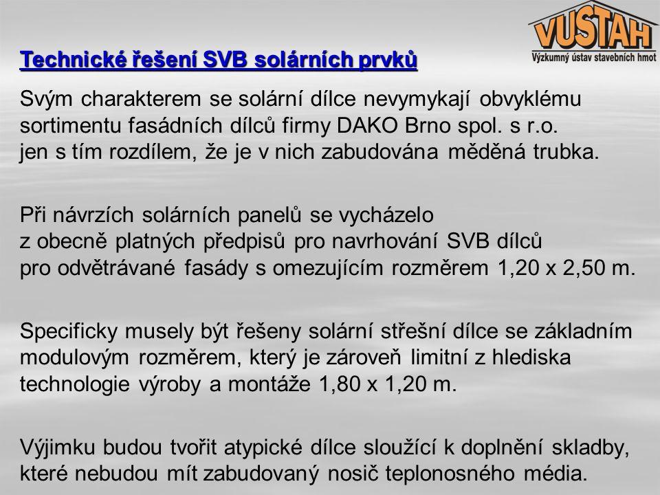 Svým charakterem se solární dílce nevymykají obvyklému sortimentu fasádních dílců firmy DAKO Brno spol. s r.o. jen s tím rozdílem, že je v nich zabudo