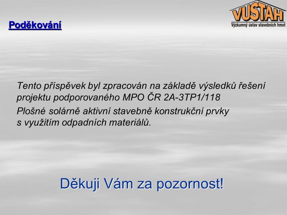 Tento příspěvek byl zpracován na základě výsledků řešení projektu podporovaného MPO ČR 2A-3TP1/118 Plošné solárně aktivní stavebně konstrukční prvky s