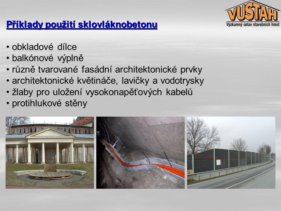Příklady použití sklovláknobetonu • obkladové dílce • balkónové výplně • různě tvarované fasádní architektonické prvky • architektonické květináče, la