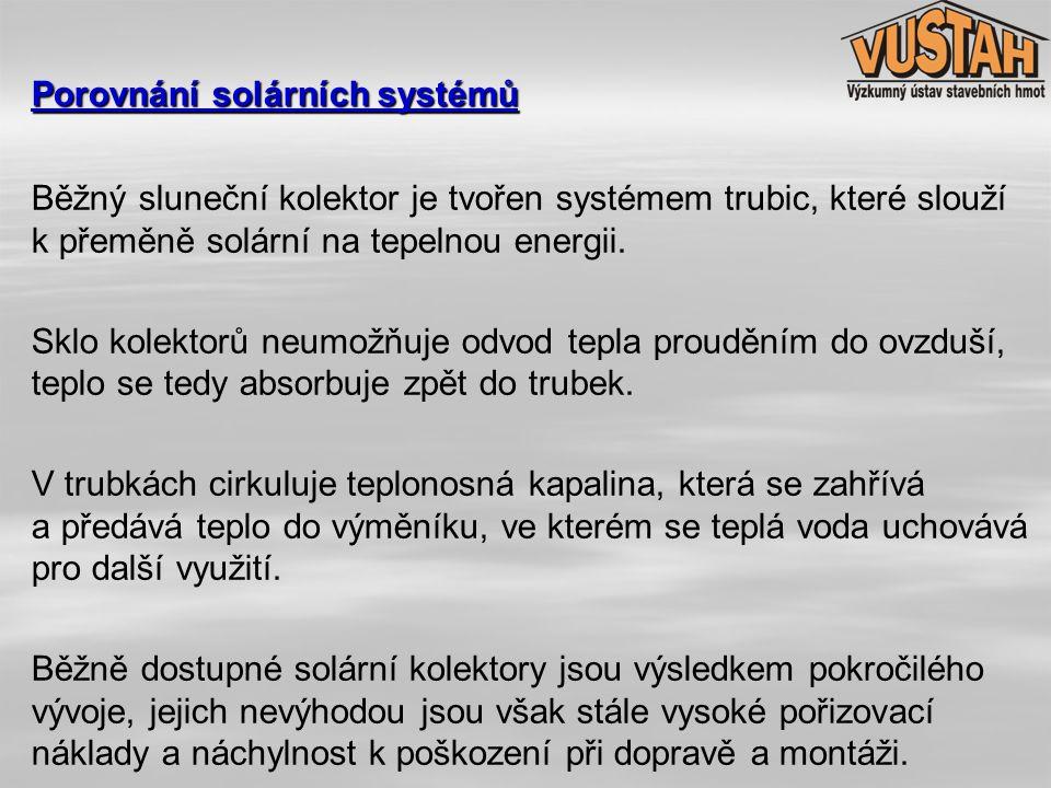 Běžný sluneční kolektor je tvořen systémem trubic, které slouží k přeměně solární na tepelnou energii. Sklo kolektorů neumožňuje odvod tepla prouděním
