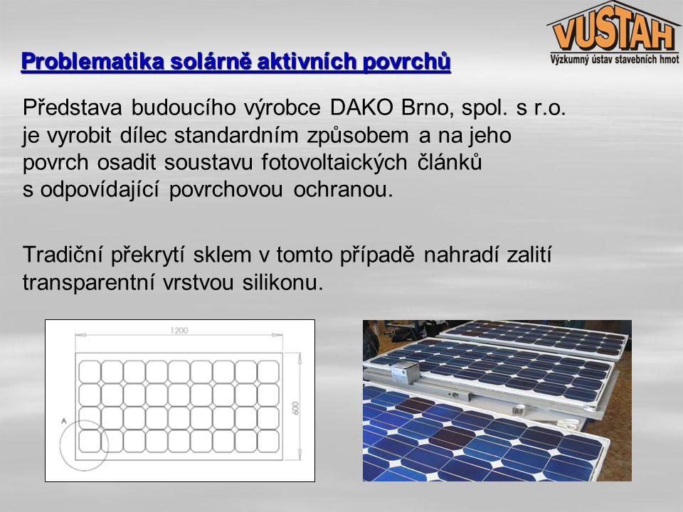 Proběhlo srovnání 3 variantních řešení solárně aktivních SVB dílců modulového rozměru 1200 x 600 mm:   sklovláknobetonový dílec s topnými trubicemi umístěnými v ploše desky exponované slunečnímu záření a na odvrácené straně izolovaný proti úniku tepla kompaktní deskou z tvrzeného polystyrenu   sklovláknobetonový dílec bez topných trubic, jehož pohledová plocha je osazena soustavou fotovoltaických článků   sklovláknobetonový dílec s topnými trubicemi umístěnými v ploše desky exponované slunečnímu záření, jehož pohledová plocha je osazena soustavou fotovoltaických článků Problematika solárně aktivních povrchů