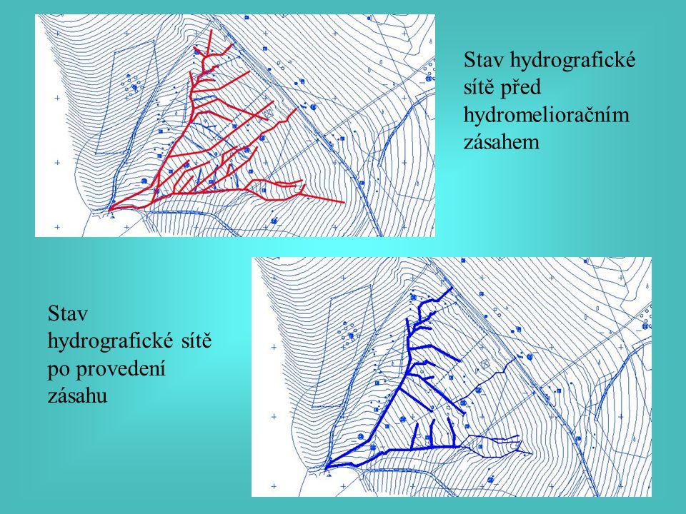Stav hydrografické sítě před hydromelioračním zásahem Stav hydrografické sítě po provedení zásahu