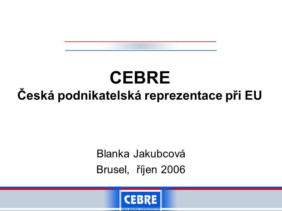 CEBRE Česká podnikatelská reprezentace při EU Blanka Jakubcová Brusel, říjen 2006