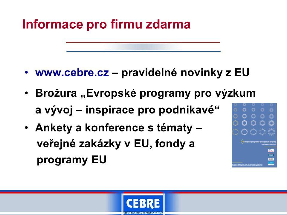 """•www.cebre.cz – pravidelné novinky z EU •Brožura """"Evropské programy pro výzkum a vývoj – inspirace pro podnikavé"""" •Ankety a konference s tématy – veře"""