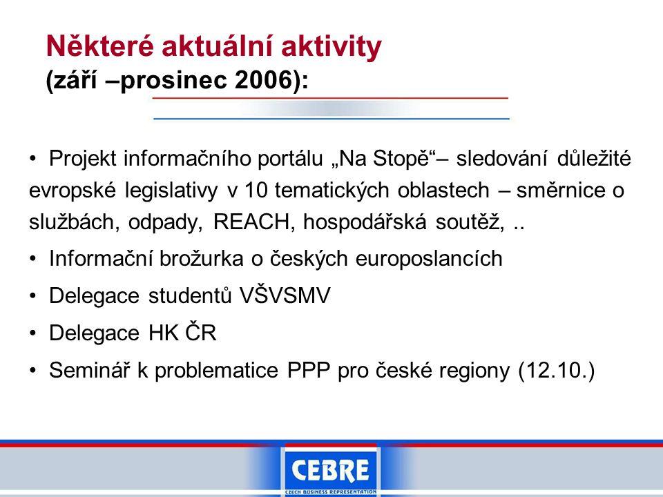 """Některé aktuální aktivity (září –prosinec 2006): • Projekt informačního portálu """"Na Stopě""""– sledování důležité evropské legislativy v 10 tematických o"""