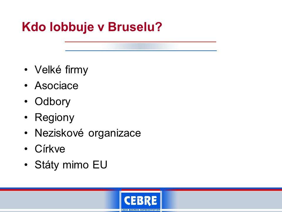 Kdo lobbuje v Bruselu? •Velké firmy •Asociace •Odbory •Regiony •Neziskové organizace •Církve •Státy mimo EU