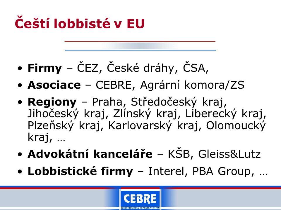 Čeští lobbisté v EU •Firmy – ČEZ, České dráhy, ČSA, •Asociace – CEBRE, Agrární komora/ZS •Regiony – Praha, Středočeský kraj, Jihočeský kraj, Zlínský k