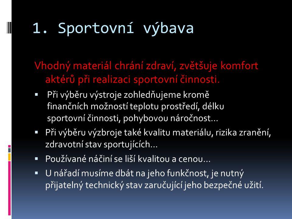 1. Sportovní výbava Vhodný materiál chrání zdraví, zvětšuje komfort aktérů při realizaci sportovní činnosti.  Při výběru výstroje zohledňujeme kromě