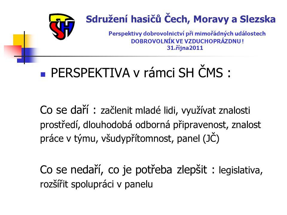 Sdružení hasičů Čech, Moravy a Slezska Perspektivy dobrovolnictví při mimořádných událostech DOBROVOLNÍK VE VZDUCHOPRÁZDNU ! 31.října2011  PERSPEKTIV