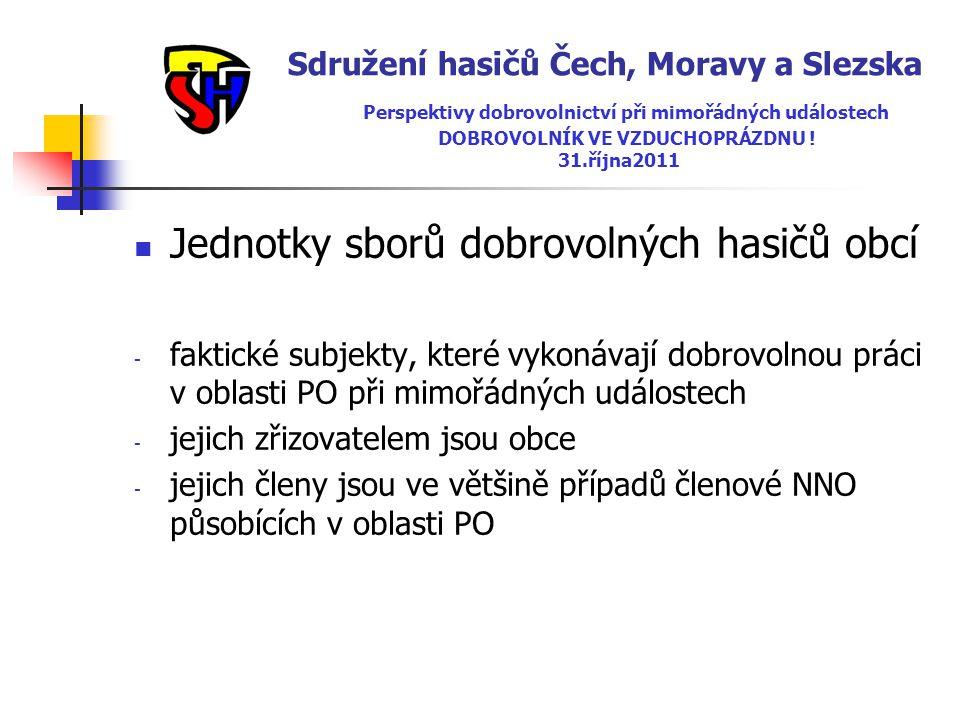 Sdružení hasičů Čech, Moravy a Slezska Perspektivy dobrovolnictví při mimořádných událostech DOBROVOLNÍK VE VZDUCHOPRÁZDNU ! 31.října2011  Jednotky s