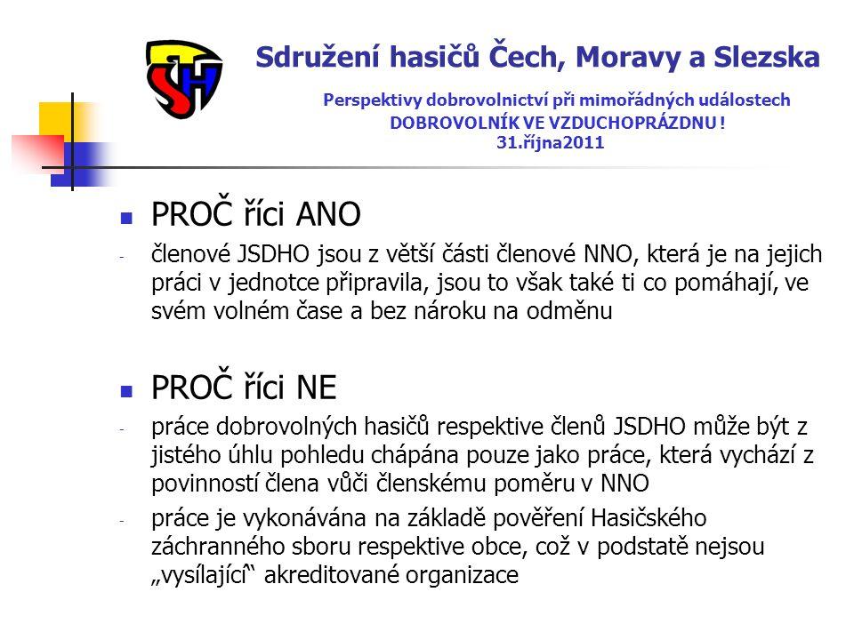 Sdružení hasičů Čech, Moravy a Slezska Perspektivy dobrovolnictví při mimořádných událostech DOBROVOLNÍK VE VZDUCHOPRÁZDNU ! 31.října2011  PROČ říci