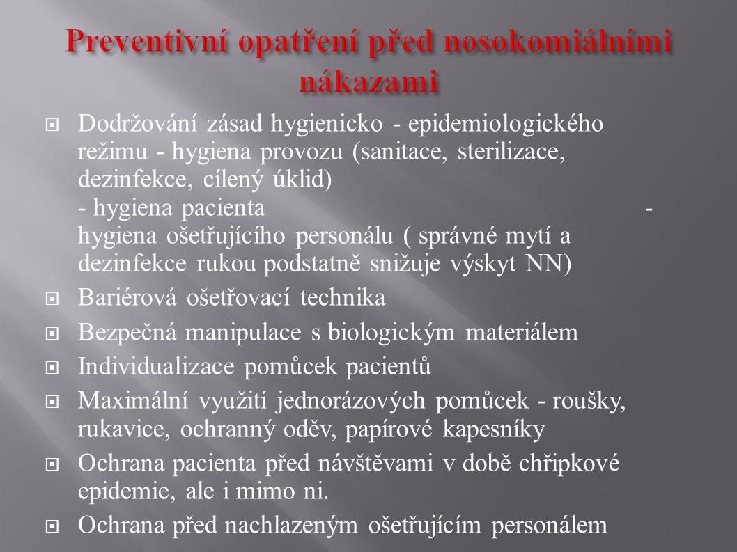  Dodržování zásad hygienicko - epidemiologického režimu - hygiena provozu (sanitace, sterilizace, dezinfekce, cílený úklid) - hygiena pacienta - hygi
