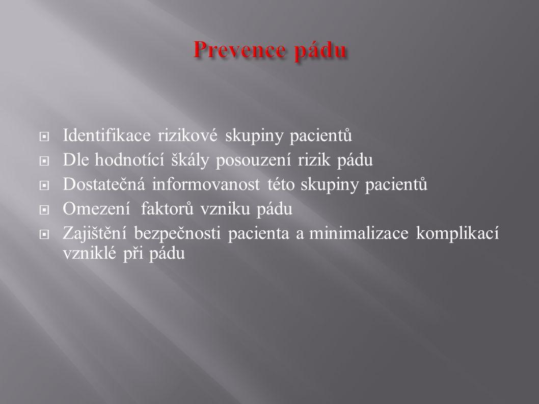 Rizikové faktory pádu VNITŘNÍ  věk pacienta  polymorbilita  pád v anamnéze  nesoběstačnost  užívání rikových léků  smyslové poruchy  psychická dekompenzace  ortostatická hypotenze VNĚJŠÍ  nevhodná obuv  neznalost nemocničního prostředí, pokoje  úprava okolí (kluzká podlaha,vyčívající ostré hrany, nevhodné osvětlení)  kompenzační pomůcky (chodítka, berle)
