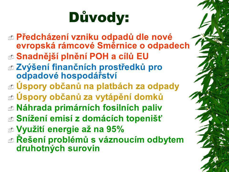 Důvody:  Předcházení vzniku odpadů dle nové evropská rámcové Směrnice o odpadech  Snadnější plnění POH a cílů EU  Zvýšení finančních prostředků pro