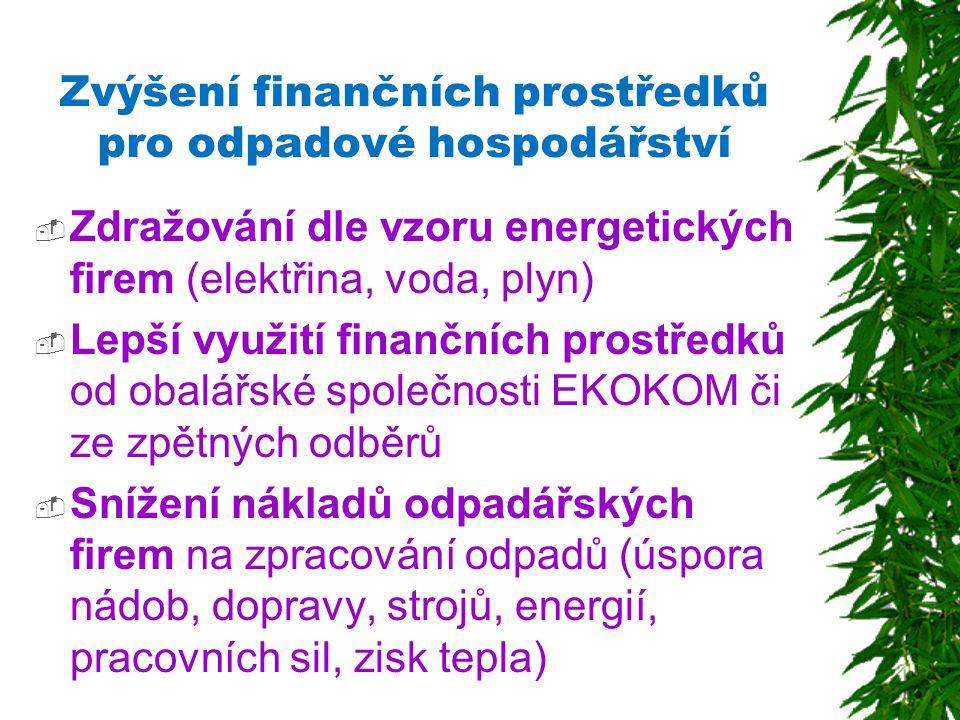 Zvýšení finančních prostředků pro odpadové hospodářství  Zdražování dle vzoru energetických firem (elektřina, voda, plyn)  Lepší využití finančních